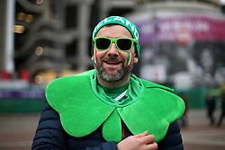 An Ireland fan before the NatWest 6 Nations match at Twickenham Stadium, London.