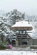 Myozenji Buddhist Temple in snow in Shirakawa-go, Japan