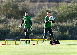 11.01.2014, Trainingsplatz, Jerez de la Frontera, ESP, 1. FBL, SV Werder Bremen, Trainingslager, im Bild von links, Raphael Wolf (SV Werder Bremen #20), Sebastian Mielitz (SV Werder Bremen #1) beim Torwarttraining // von links, Raphael Wolf (SV Werder Bremen #20), Sebastian Mielitz (SV Werder Bremen #1) beim Torwarttraining during Trainingsession of German Bundesliga Club SV Werder Bremen at Trainingsplatz in Jerez de la Frontera, Spain on 2014/01/11. EXPA Pictures © 2014, PhotoCredit: EXPA/ Andreas Gumz<br /> <br /> *****ATTENTION - OUT of GER*****