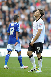 Derby County's Chris Martin cuts a dejected figure - Photo mandatory by-line: Dougie Allward/JMP - Mobile: 07966 386802 30/08/2014 - SPORT - FOOTBALL - Derby - iPro Stadium - Derby County v Ipswich Town - Sky Bet Championship