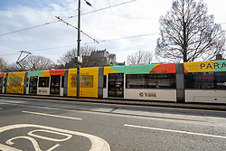 Tram on Princes Street. Edinburgh on the day after the Lockdown.