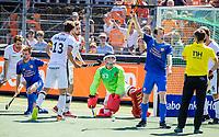 AMSTELVEEN - Seve van Ass (Ned) vraagt om een strafbal, Alexander Stadler (GK) (Dui) , Thierry Brinkman (Ned) , Tobias Hauke (C) (Dui)  tijdens mannen hockeywedstrijd , Nederland-Duitsland (2-2),  bij het EK hockey. Euro Hockey 2021.   COPYRIGHT KOEN SUYK