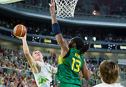 Edo Muric of Slovenia vs Nene Hilario of Brasil during friendly basketball match between National Teams of Slovenia and Brasil at Day 2 of Telemach Tournament on August 22, 2014 in Arena Stozice, Ljubljana, Slovenia. Photo by Vid Ponikvar / Sportida