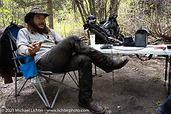 Danger Dan Hardick doing his weekly Talk Shop podcast on a trail just outside Red River, NM, USA. Sunday, May 30, 2021. Photography ©2021 Michael Lichter.