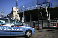 """La polizia davanti allo stadio di Bergamo chiuso al pubblico.<br /> <br /> A police car in front of the empty Bergamo stadium. <br /> <br /> Some Italy stadiums were closed for security reasons after last week clashes after Catania Palermo<br /> <br /> Italian """"Serie A"""" 2006-2007<br /> <br /> 11 Feb 2007 (Match Day 23)<br /> <br /> Atalanta-Lazio (0-0)<br /> <br /> """"Atleti Azzurri D'Italia"""" Stadium-Bergamo-Italy<br /> <br /> Photographer:Jennifer Lorenzini INSIDE"""