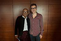 """19 JUN 2012, BERLIN/GERMANY:<br /> Maung Thura """"Zarganar"""" (L),  Comedian, Komoediant, Film- und Fernsehschauspieler, Filmregisseur burmesischer Sprache und  Kritiker des Militaerregimes in Burma/Myanmar, und Michael Mittermeier (R) Komiker, Autor und Saenger, waehrend einem Pressegespraech, Hotel Melia<br /> IMAGE: 20120619-01-050<br /> KEYWORDS Regimekritiker"""