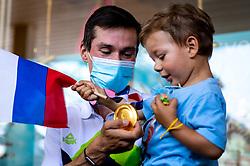 Primoz Roglic, Olympic gold medalist with his son during his arrival from Tokyo 2020 on July 30, 2021 in Airport Joze Pucnik, Brnik, Ljubljana, Slovenia. Photo by Matic Klansek Velej / Sportida