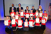 Dunmore NS pupils with their Certificates for the participation at the Medtronic Junior FIRST LEGO League challenge MC Paul Sneem,  Medtronic's Martin Conroy and Caroline Healy  with teachers Colm Mitchell and Sandra Breathnach at the Radisson Blu Hotel Galway. This is the second year The Galway Education Centre has hosted this competition - one of only six countries in the world who do so. Following the success of last year, over 500 school children from all over the country are expected to come along and practice their robotics, presentation and teamwork skills live on the night!. .Bernard Kirk, Director of The Galway Education Centre says; ?Working on this three day event every year is fun and exciting and always surprising. The talent, instinct and drive we discover in these young children is an inspiration to all of us. We look forward to the continued success of all of our challenges which would not be possible without the support of companies like Medtronic, SAP, HP and LEGO?. Photo:Andrew Downes
