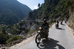 Round the World Doug Wothke riding a Royal Enfield Himalayan on Motorcycle Sherpa's Ride to the Heavens motorcycle adventure in the Himalayas of Nepal. Riding from Daman back to Kathmandu. Wednesday, November 13, 2019. Photography ©2019 Michael Lichter.