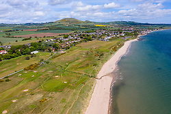Aerial view of Lundin Links golf course in Fife , Scotland, UK, Course closed due to Covid-19 lockdown