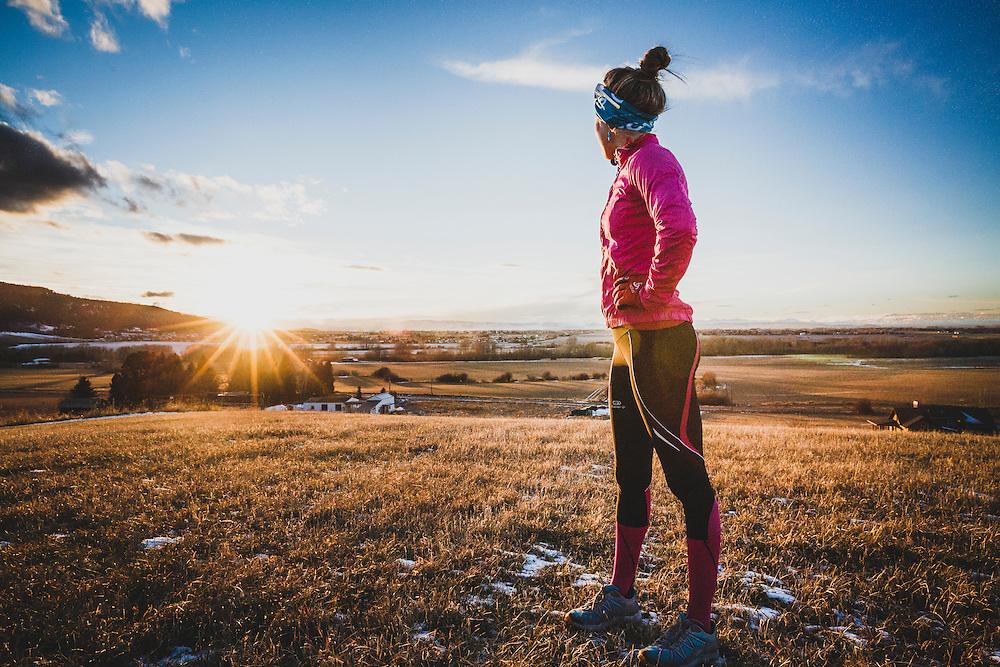 Inge Perkins takes a break after running the Tripple Tree Trail, Bozeman, Montana.