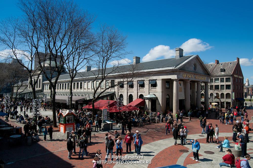 Quincy market in spring, Boston, MA