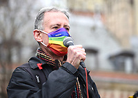 """peter tatchell speaking at the Bill' protesters  """"  Parliament square photo by Krisztian  Elek"""