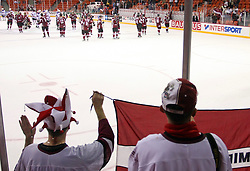 Players and fans of Latvia after ice-hockey match USA vs Latvia at IIHF WC 2008 in Halifax,  on May 02, 2008 in Metro Center, Halifax, Canada. USA won 4:0. (Photo by Vid Ponikvar / Sportal Images)