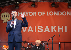Sadiq Khan during the Mayor of London Vaisakhi celebrations in Trafalgar Square, London, to mark the Sikh New Year.