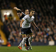 Tottenham's Erik Lamela goes in late on Everton's Gareth Barry<br /> <br /> Barclays Premier League- Tottenham Hotspur vs Everton - White Hart Lane - England - 30th November 2014 - Picture David Klein/Sportimage