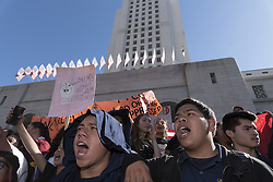 November 14, 2016 - Los Angeles, California, United States - Hundreds of Los Angeles high school students walkout of classes to protest President-elect Donald Trump. Los Angeles, California. November 14, 2016. (Credit Image: © Ronen Tivony/NurPhoto via ZUMA Press)