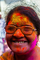 Holi Festival celebration (Festival of Colors) outside the Banke Bihari Temple, Vrindavan, near Mathura, Uttar Pradesh, India.