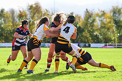 Amelia Buckland-Hurry of Bristol Ladies is tackled by Alice Sheffield of Wasps Ladies - Mandatory by-line: Craig Thomas/JMP - 28/10/2017 - RUGBY - Cleve RFC - Bristol, England - Bristol Ladies v Wasps Ladies - Tyrrells Premier 15s