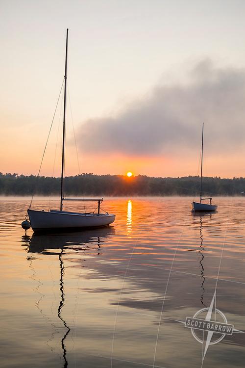 Sunrise on Stockbridge Bowl with boats.