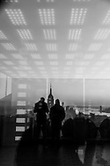 New york Top of the Rock  terrace in the he Rockfeller center, LED light room and panoramic view of Manhattan . Manhattan - United states