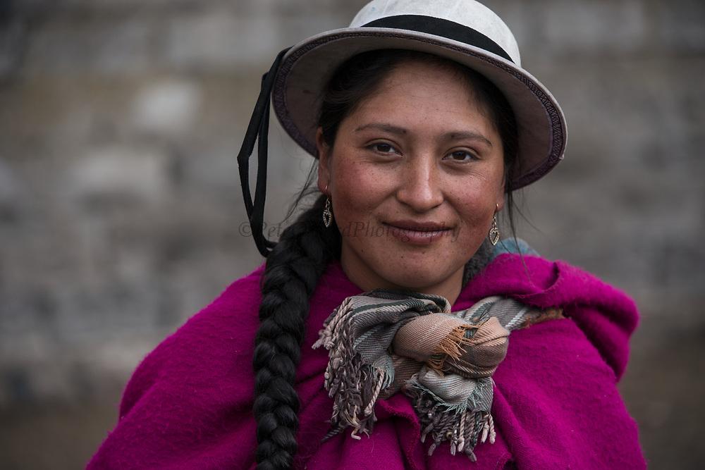 Indian woman Marta Tacuri<br /> Pulingue San Pablo community<br /> Chimborazo Province<br /> Andes<br /> ECUADOR, South America