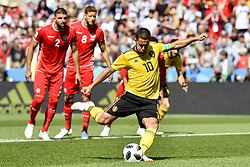 June 23, 2018 - Moscow, RUSSIA - Belgium's Eden Hazard scored the 1-0 goal on a penalty at the second game of Belgian national soccer team the Red Devils against Tunisia national team in the Spartak stadium, in Moscow, Russia, Saturday 23 June 2018. Belgium won its first group phase game. BELGA PHOTO DIRK WAEM (Credit Image: © Dirk Waem/Belga via ZUMA Press)