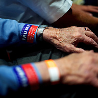 MECHANICSBURG, PA- August 1, 2016.  James MacDonald, 92, attending his first rally for Donald J. Trump, awaits the arrival of the Republican Presidential nominee at the overflow crowd for a rally at Cumberland Valley High School in Mechanicsburg, PA on August 1, 2016.  CREDIT: Mark Makela for The New York Times