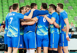 Players of Slovenia celebrate after winning during volleyball match between National teams of Slovenia and Portugal in 2nd Round of 2018 FIVB Volleyball Men's World Championship qualification, on May 26, 2017 in Arena Stozice, Ljubljana, Slovenia. Photo by Vid Ponikvar / Sportida