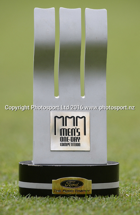 The Ford Trophy before the Ford Trophy Final, Central Stags vs Canterbury, Pukekura Park, New Plymouth, January 30, 2016. Copyright photo: Kerry Marshall / www.photosport.nz