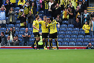 Tom Naylor of Burton Albion celebrates with team mates after scoring the forth goal of the game to make it 2-2 during the EFL Sky Bet Championship match between Blackburn Rovers and Burton Albion at Ewood Park, Blackburn, England on 20 August 2016. Photo by Simon Brady.