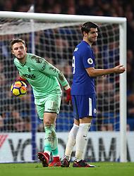30 December 2017 -  Premier League - Chelsea v Stoke City - Alvaro Morata of Chelsea reacts after Jack Butland of Stoke City denies him a chance - Photo: Marc Atkins/Offside