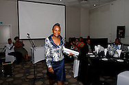 DURBAN - 1 November 2016 - Advocate Busisiwe Mkhwebane, South Africa's newly appointed Public Protector, leaves the podium after speaking at a dinner at the start of the 5th General Assembly of the Africa Ombudsman and Mediators Association. Mkhwebane was appointed Public Protector in October after the popular Advocate Thuli Madonsela completed her non-renewable 7-year term. Picture: Allied Picture Press/APP