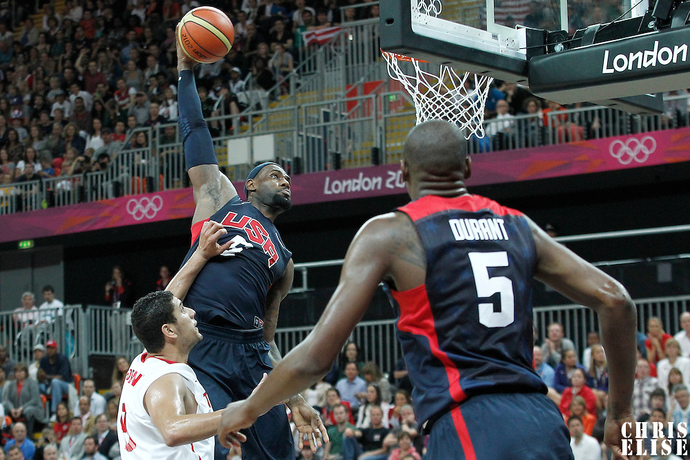 31 July 2012: USA LeBron James dunks the ball during 110-63 Team USA victory over Team Tunisia, during the men's basketball preliminary, at the Basketball Arena, in London, Great Britain.