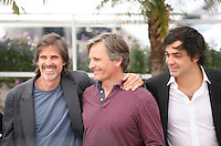 Walter Salles, Viggo Mortensen, Sam Riley, at the On The Road photocall at the 65th Cannes Film Festival France. The film is based on the book of the same name by beat writer Jack Kerouak and directed by Walter Salles. Wednesday 23rd May 2012 in Cannes Film Festival, France.