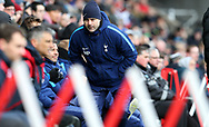 Mauricio Pochettino, the manager of Tottenham Hotspur looks on during The Emirates FA Cup, quarter-final match, Swansea city v Tottenham Hotspur at the Liberty Stadium in Swansea, South Wales on Saturday 17th March 2018.<br /> pic by  Andrew Orchard, Andrew Orchard sports photography.