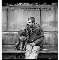 Homeless and his dog, Lincoln's Inn Fields, London.