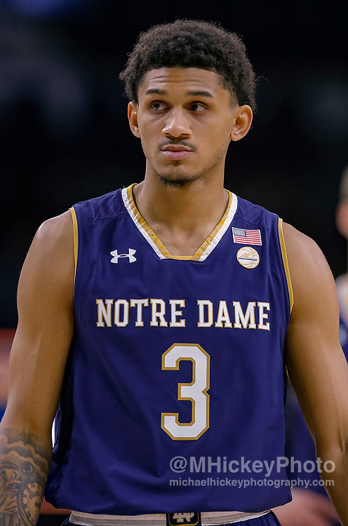 SOUTH BEND, IN - NOVEMBER 08: Prentiss Hubb #3 of the Notre Dame Fighting Irish is seen during the game against the Chicago State Cougars at Purcell Pavilion on November 8, 2018 in South Bend, Indiana. (Photo by Michael Hickey/Getty Images) *** Local Caption *** Prentiss Hubb