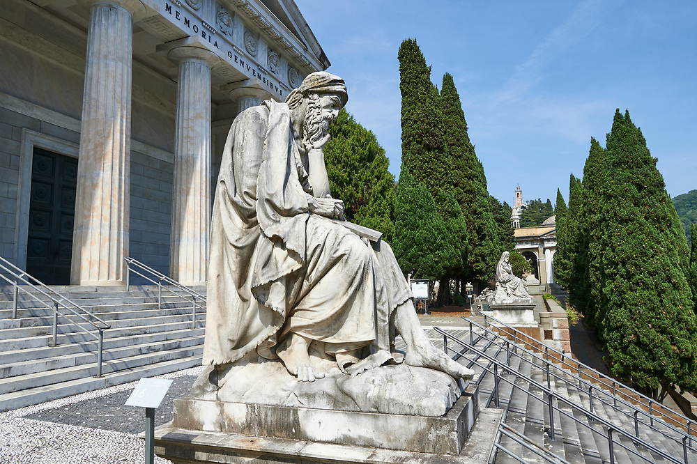 Picture and image of the stone sculpture of a Job (Giobbe) on the steps of the Parthenon by  G Benetti 1872. The monumental tombs of the Staglieno Monumental Cemetery, Genoa, Italy .<br /> <br /> Visit our ITALY PHOTO COLLECTION for more   photos of Italy to download or buy as prints https://funkystock.photoshelter.com/gallery-collection/2b-Pictures-Images-of-Italy-Photos-of-Italian-Historic-Landmark-Sites/C0000qxA2zGFjd_k<br /> If you prefer to buy from our ALAMY PHOTO LIBRARY  Collection visit : https://www.alamy.com/portfolio/paul-williams-funkystock/camposanto-di-staglieno-cemetery-genoa.html