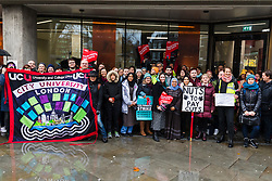 © Licensed to London News Pictures. 27/11/2019. London, UK. UCU General Secretary, Jo Grady joins members of the University and Colleges Union (UCU) taking part in a protest and strike action outside City, University of London today. Lecturers and support staff across 60 universities in the UK are currently on an eight day strike, taking action in two disputes, one on pensions and one on pay and conditions. Photo credit: Vickie Flores/LNP