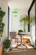 An inside terrace in one of the show apartments at the Television Centre Pavilion, Shepherd's Bush, London, UK CREDIT: Vanessa Berberian for The Wall Street Journal. TVCENTRE