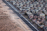 Residential areas in Las Vegas are growing further into the desert as the city needs development and investments to continue being an economic success, and avoid becoming another 'victim' of the recent economic crisis, Nevada, USA.