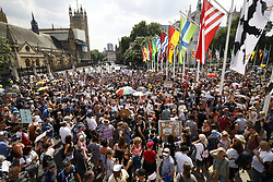 © Licensed to London News Pictures. 19/07/2021. London, UK. Protesters gather in Parliament Square in central London on Freedom Day. All covid regulations in England are being scrapped from today even though infections and hospitalisations are on the increase. Photo credit: Peter Macdiarmid/LNP