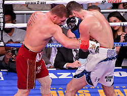 December 15, 2018 - New York, New York, USA - CANELO ALVAREZ (red trunks) and ROCKY FIELDING battle in a WBA (Regular) Super Middleweight title bout at Madison Square Garden in New York, New York. (Credit Image: © Joel Plummer/ZUMA Wire)
