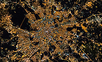 Aerial view above of Moscow cityscape during the night, Russia