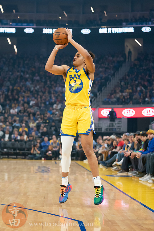 February 23, 2020; San Francisco, California, USA; Golden State Warriors guard Jordan Poole (3) shoots the basketball during the first quarter against the New Orleans Pelicans at Chase Center.