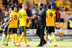Wolverhampton Wanderers manager Nuno shakes hands with Conor Coady of Wolverhampton Wanderers - Mandatory by-line: Robbie Stephenson/JMP - 25/08/2018 - FOOTBALL - Molineux - Wolverhampton, England - Wolverhampton Wanderers v Manchester City - Premier League