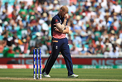 England's Ben Stokes reacts after a delivery during the ICC Champions Trophy, Group A match at The Oval, London.