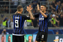 September 18, 2018 - Milan, Milan, Italy - Mauro Icardi #9 of FC Internazionale Milano and Matias Vecino #8 of FC Internazionale Milano celebrate a victory at the end of the UEFA Champions League group B match between FC Internazionale and Tottenham Hotspur at Stadio Giuseppe Meazza on September 18, 2018 in Milan, Italy. (Credit Image: © Giuseppe Cottini/NurPhoto/ZUMA Press)