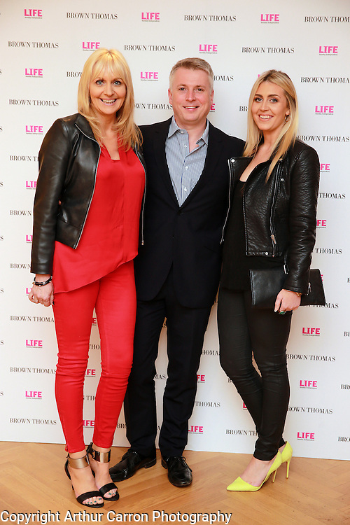 14/5/14 Miriam O'Callaghan with husband Steve Carson and daughter Georgia at the 10th Anniversary celebrations of Life Magazine at Brown Thomas in Dublin. Picture:Arthur Carron
